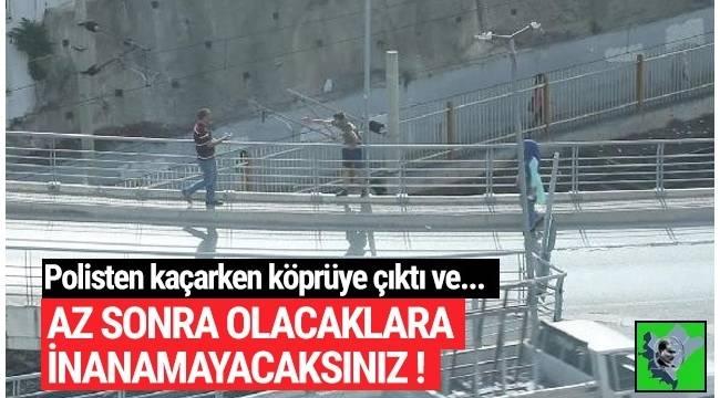 İzmir'in Bayraklı ilçesinde hırsızlık girişiminde bulunan B.A. (22), polisten kaçarken kendini köprüden atmaya çalıştı.