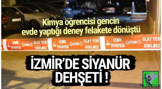İzmir'in Bayraklı ilçesinde kimya öğrencisi bir genç, evde siyanürle deney yaparken, yere dökülmesi sonucu evde bulunan 5 kişi zehirlendi.