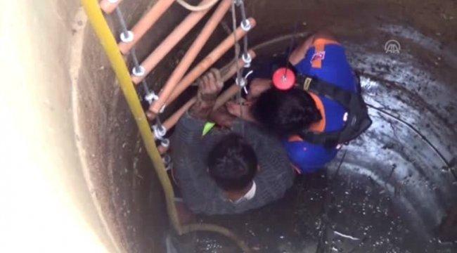 Muğla'nın Menteşe ilçesinde temizlik için indiği kuyuda mahsur kalan kişi kurtarıldı