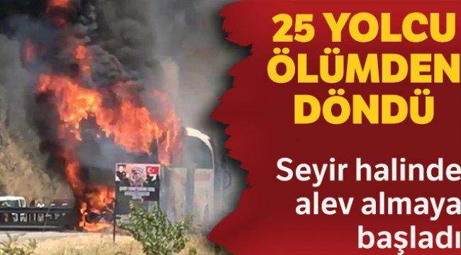 Marmaris'te yolcu otobüsü cayır cayır yandı