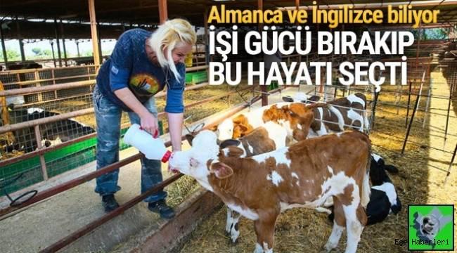 İzmir'de uzun yıllar yer hostesliği yapan Nurcan Kaplan, dedesinden görüp çocukluğundan beri ilgi duyduğu hayvancılık mesleğine geçiş yaparak çiftlik kurdu..