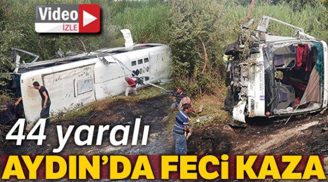 Aydın'da devrilen servis otobüsü alev aldı: 20'si ağır 44 yaralı