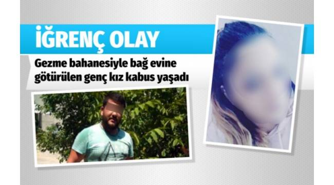 DENİZLİ'de 24 yaşındaki bir kadın zorla götürüldüğü bağ evinde iki kişi tarafından darp edilip, 4 saat boyunca cinsel istismara uğradı.