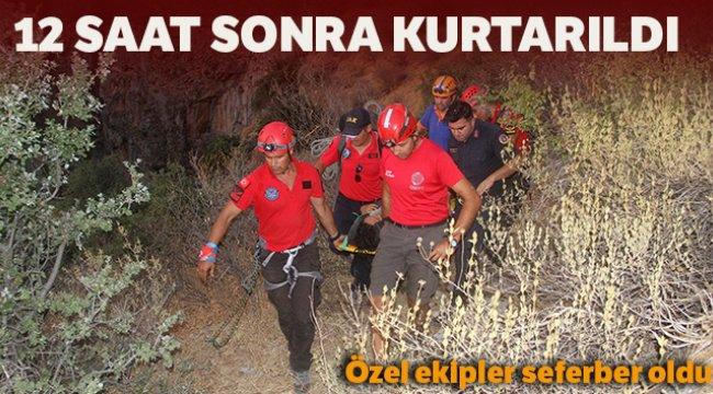 Muğla'nın Fethiye ilçesinde kayalıklara düşen genç kız 12 saatte kurtarıldı
