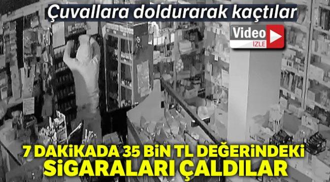 Denizli'de markete giren 2 hırsız, 7 dakikada 35 bin TL değerindeki sigaraları çaldılar