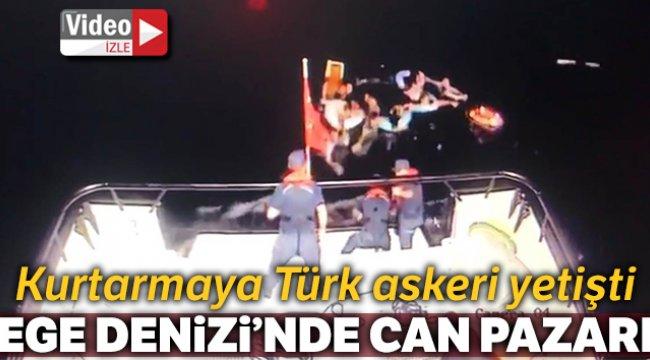 Ege Denizi'nde can pazarı, teknesi batan düzensiz göçmenlerin imdadına Türk askeri yetişti