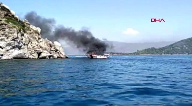 Muğla-marmaris açıklarında teknede yangın çıktı-4