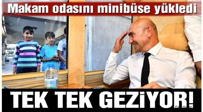 İZMİR Büyükşehir Belediye Başkanı Tunç Soyer, İzmir'de 'seyyar makam' uygulamasını başlattı.