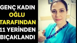 İzmir'in Bornova ilçesinde oğlu tarafından bıçaklanan kadın çalıştığı hastanede yaşam mücadelesi veriyor