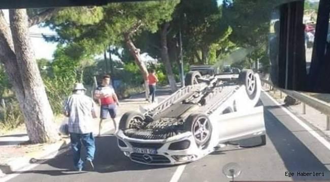 İzmir Urla' da meydana gelen kaza'da otomobil takla attı!