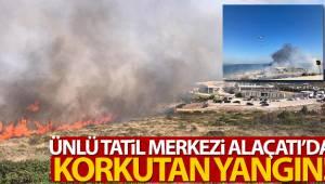 Ünlü tatil merkezi Alaçatı'da korkutan yangın