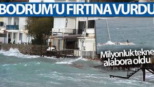 Bodrum'da çıkan fırtına milyonluk tekneyi alabora etti