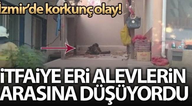 İzmir'de korkunç olay: Çatı çöktü, itfaiye eri alevlerin içine düşüyordu