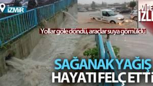 İzmir'i sağanak vurdu: Urla'da sokaklar göle döndü